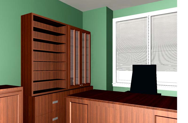 building home office. an approved rendering of two bookshelves over a double lateral filing cabinet all custom fit for the small room building home office